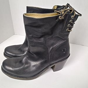 Frye Carmen Black Leather Lace Detail Booties. 8